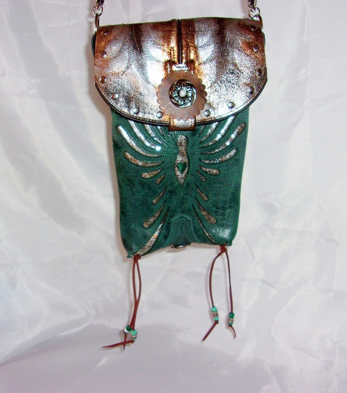 front of turquoise and silver phoenix rising small leather cross-body messenger hipster bag handcrafted from reclaimed recycled cowboy boots