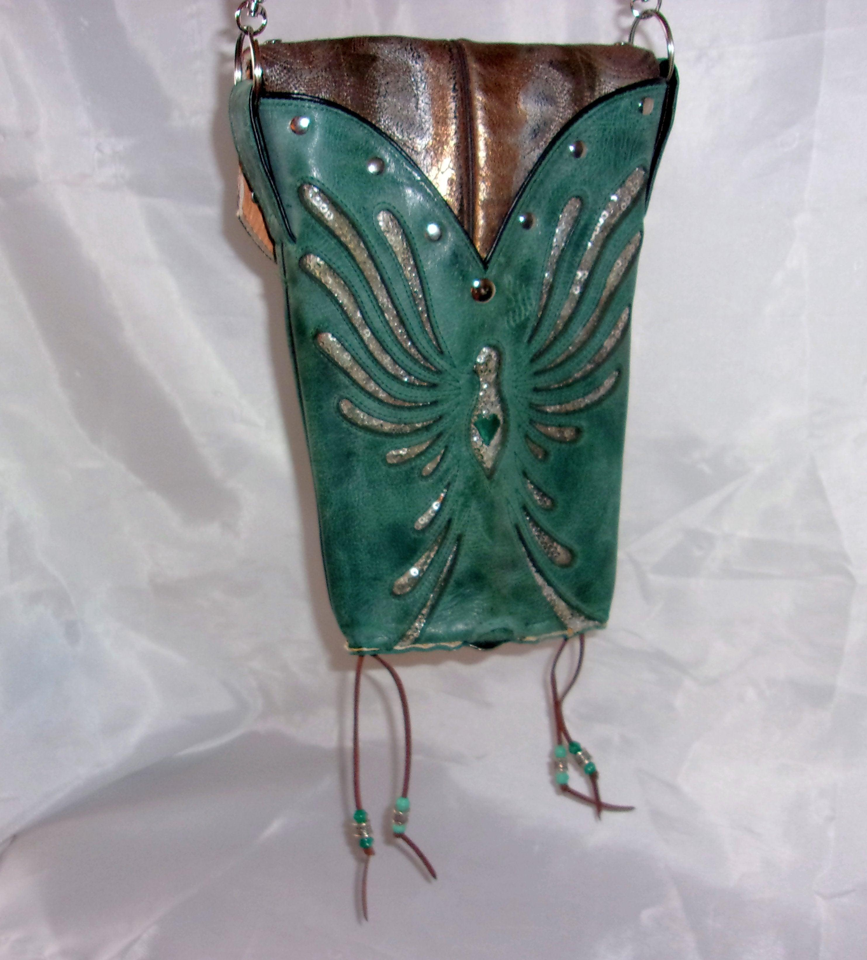 back of turquoise and silver phoenix rising small leather cross-body messenger hipster bag handcrafted from reclaimed recycled cowboy boots