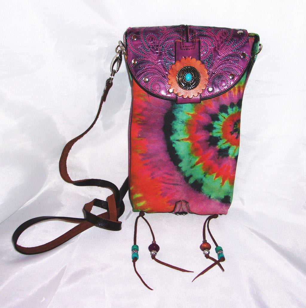 Purple Tie Dye Cross-Body Leather Hipster HP702