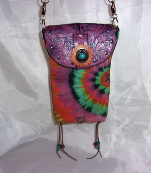 Purple Tie Dye Cross-Body Leather Hipster HP702 - Cowboy Boot Purses by Chris Thompson for Distinctive Western Fashion