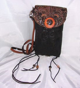 black santa fe southwestern small leather cross-body messenger hipster bag handcrafted from reclaimed recycled cowboy boots