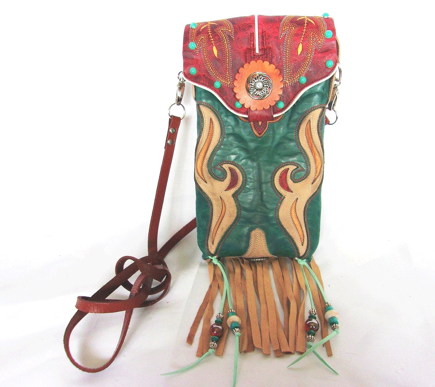 Southwest Red n Turq Fringed Cross-Body Leather Hipster HP711