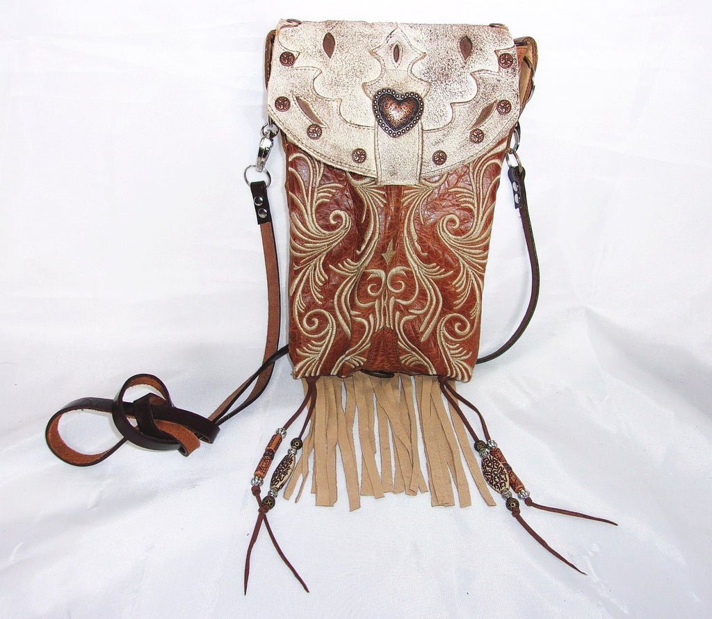 Copper Scroll Fringed Cross-Body Leather Hipster HP712 - Cowboy Boot Purses by Chris Thompson for Distinctive Western Fashion