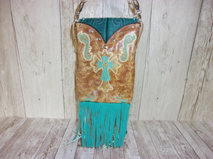 Turquoise Cross Western Fringe Purse Cross-Body Leather Hipster HP713