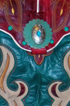 Turquoise n Red Fringed Cross-Body Leather Hipster HP714 - Cowboy Boot Purses by Chris Thompson for Distinctive Western Fashion