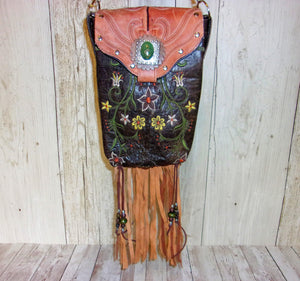 Country Flowers Fringed Cross-Body Leather Hipster Cowboy Boot Purse HP716