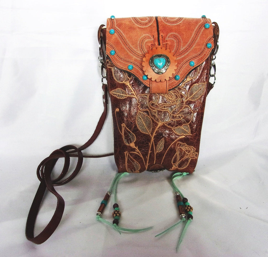 Turquoise Heart Fringed Cross-Body Leather Hipster HP719 - Cowboy Boot Purses by Chris Thompson for Distinctive Western Fashion