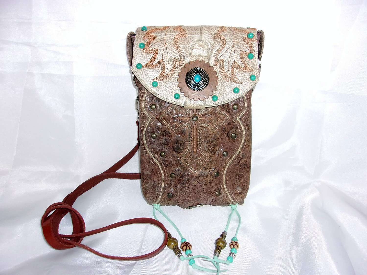 Turquoise Cross Cross-Body Leather Hipster HP721 - Cowboy Boot Purses by Chris Thompson for Distinctive Western Fashion