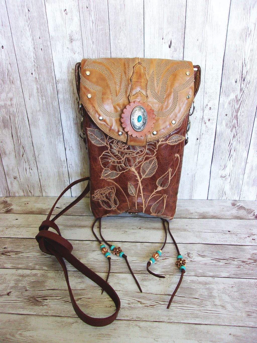 Cross-Body Leather Hipster HP733 - Cowboy Boot Purses by Chris Thompson for Distinctive Western Fashion