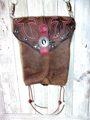 Ohio State Buckeyes Cross-Body Leather Hipster Cowboy Boot Purse HP739 - Distinctive Western Handbags, Purses and Totes