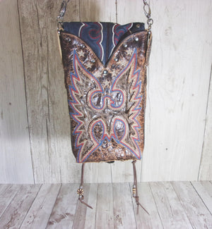 Western Crossbody Purse – Cowboy Boot Purse – Fringe Purse – Leather Hipster HP741