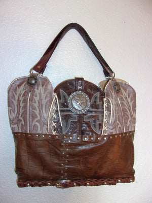 LT23 Large Southwest Croc Leather Tote - Cowboy Boot Purses by Chris Thompson for Distinctive Western Fashion