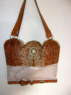 LT25 Large Croc Print Leather Tote - Cowboy Boot Purses by Chris Thompson for Distinctive Western Fashion