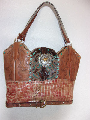 LT27 Large Southwest Croc Leather Tote - Cowboy Boot Purses by Chris Thompson for Distinctive Western Fashion
