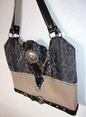 LT29 Large Black n Tan Leather Tote - Unique Leather Handbags and Totes by Chris Thompson