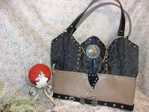 LT29 Large Black n Tan Leather Tote - Cowboy Boot Purses by Chris Thompson for Distinctive Western Fashion