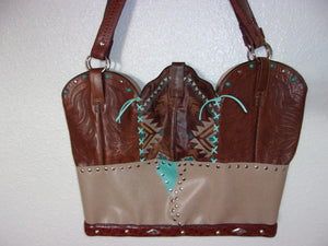 LT31 Large Southwest Turquoise Leather Tote - Cowboy Boot Purses by Chris Thompson for Distinctive Western Fashion