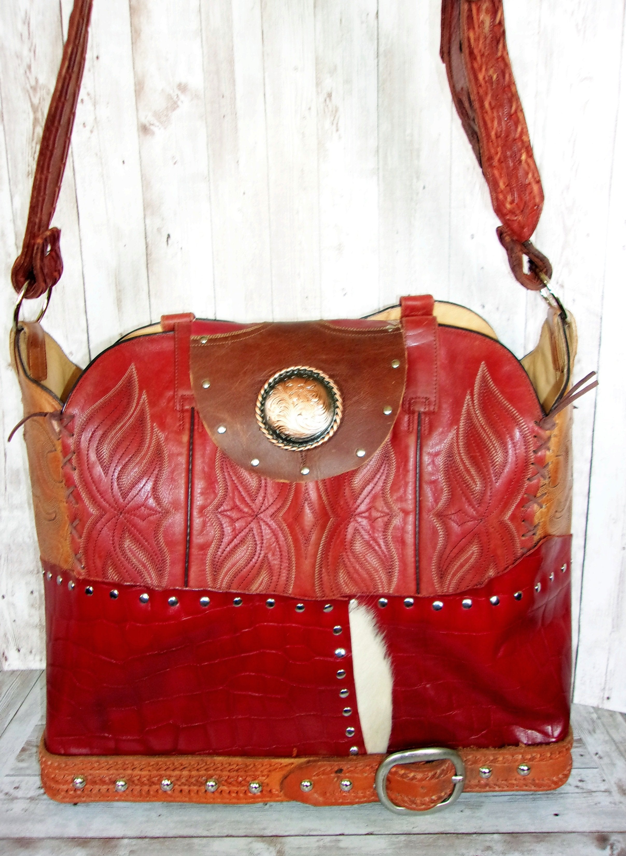 Large Red Croc Leather Tote LT32 - Cowboy Boot Purses by Chris Thompson for Distinctive Western Fashion