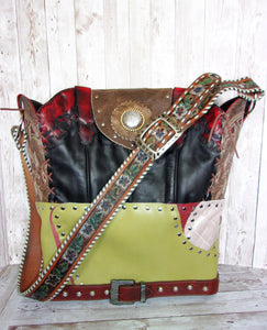 Large Lime Leather Tote LT34 - Cowboy Boot Purses by Chris Thompson for Distinctive Western Fashion