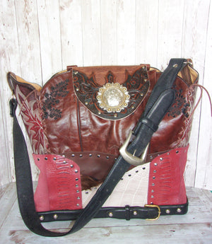 Large Cabernet Leather Tote LT35 - Cowboy Boot Purses by Chris Thompson for Distinctive Western Fashion