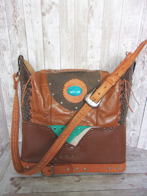 Large Bit of Turq Leather Tote LT37 - Cowboy Boot Purses by Chris Thompson for Distinctive Western Fashion