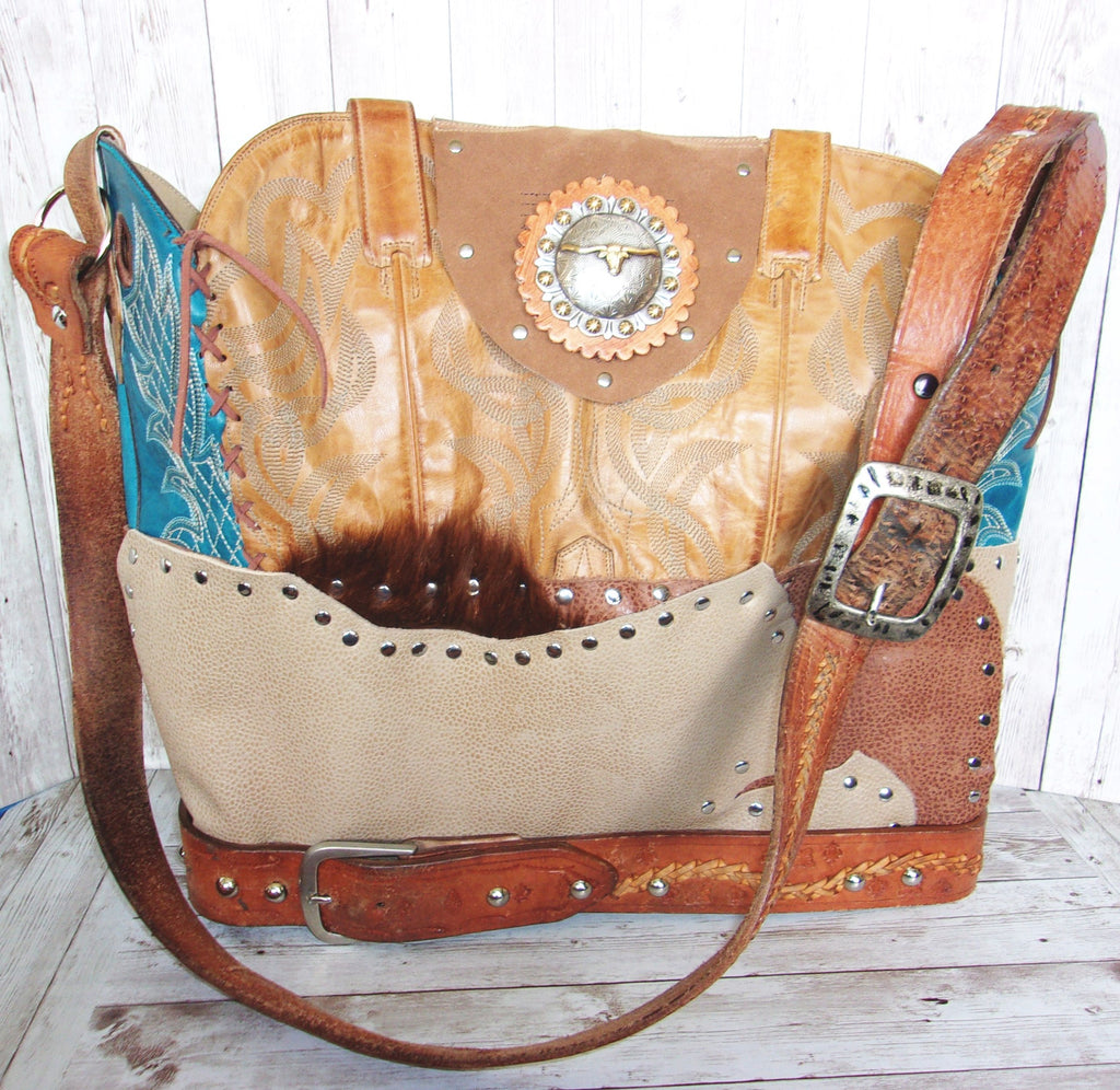 Large TX Longhorn Leather Tote LT38 - Cowboy Boot Purses by Chris Thompson for Distinctive Western Fashion