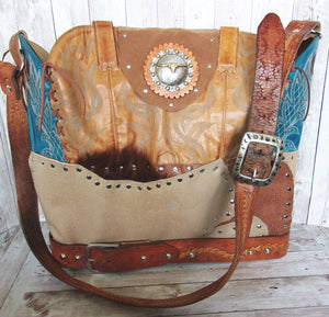 Western Laptop Tote - Extra Large Cowboy Boot Purse - Western Travel Bag LT38 cowboy boot purses, western fringe purse, handmade leather purses, boot purse, handmade western purse, custom leather handbags Chris Thompson Bags