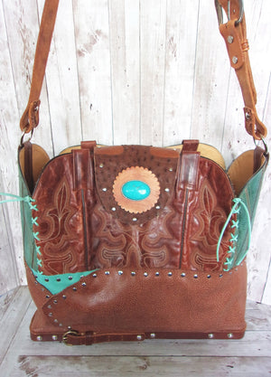 Large Rusty Turq Leather Tote LT39 - Cowboy Boot Purses by Chris Thompson for Distinctive Western Fashion