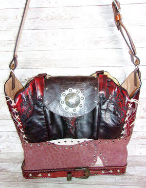 Large Burgundy Leather Tote LT40 - Cowboy Boot Purses by Chris Thompson for Distinctive Western Fashion