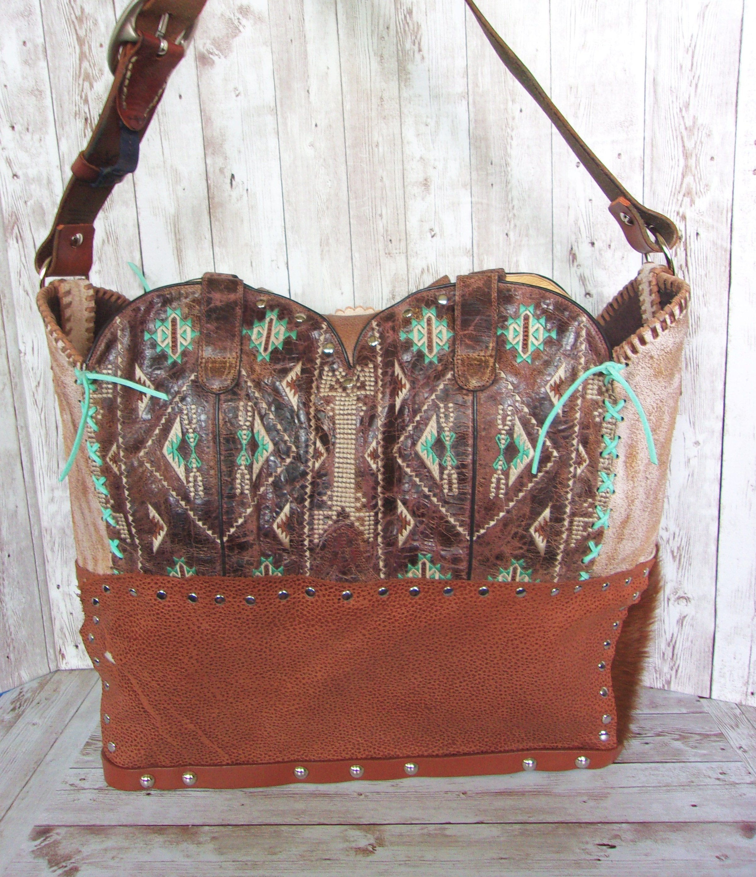 Large Southwest Leather Tote LT41 - Cowboy Boot Purses by Chris Thompson for Distinctive Western Fashion