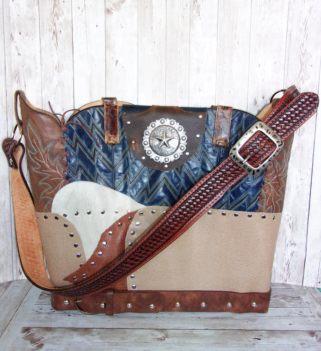 Large Blue Chev Leather Tote LT42 - Cowboy Boot Purses by Chris Thompson for Distinctive Western Fashion