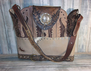 Brown Wings Leather Tote LT43 - Distinctive Western Handbags, Purses and Totes