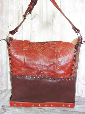 Large Rusty Leather Tote LT45 - Cowboy Boot Purses by Chris Thompson for Distinctive Western Fashion