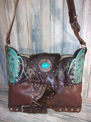 Choco Mint Leather Tote LT46 - Distinctive Western Handbags, Purses and Totes