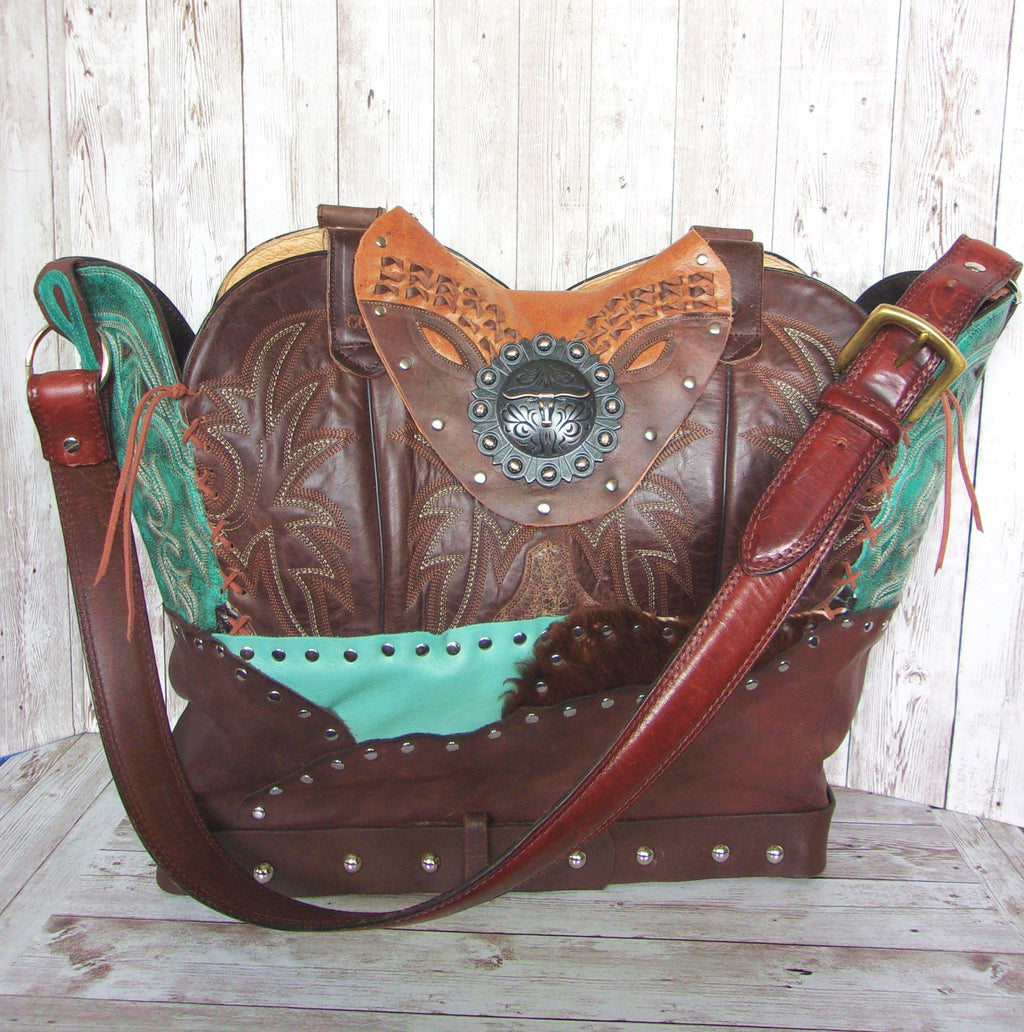 Large Longhorn Turq Leather Tote LT47 - Cowboy Boot Purses by Chris Thompson for Distinctive Western Fashion