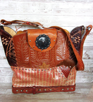 Large Longhorn Leather Tote LT48 - Cowboy Boot Purses by Chris Thompson for Distinctive Western Fashion