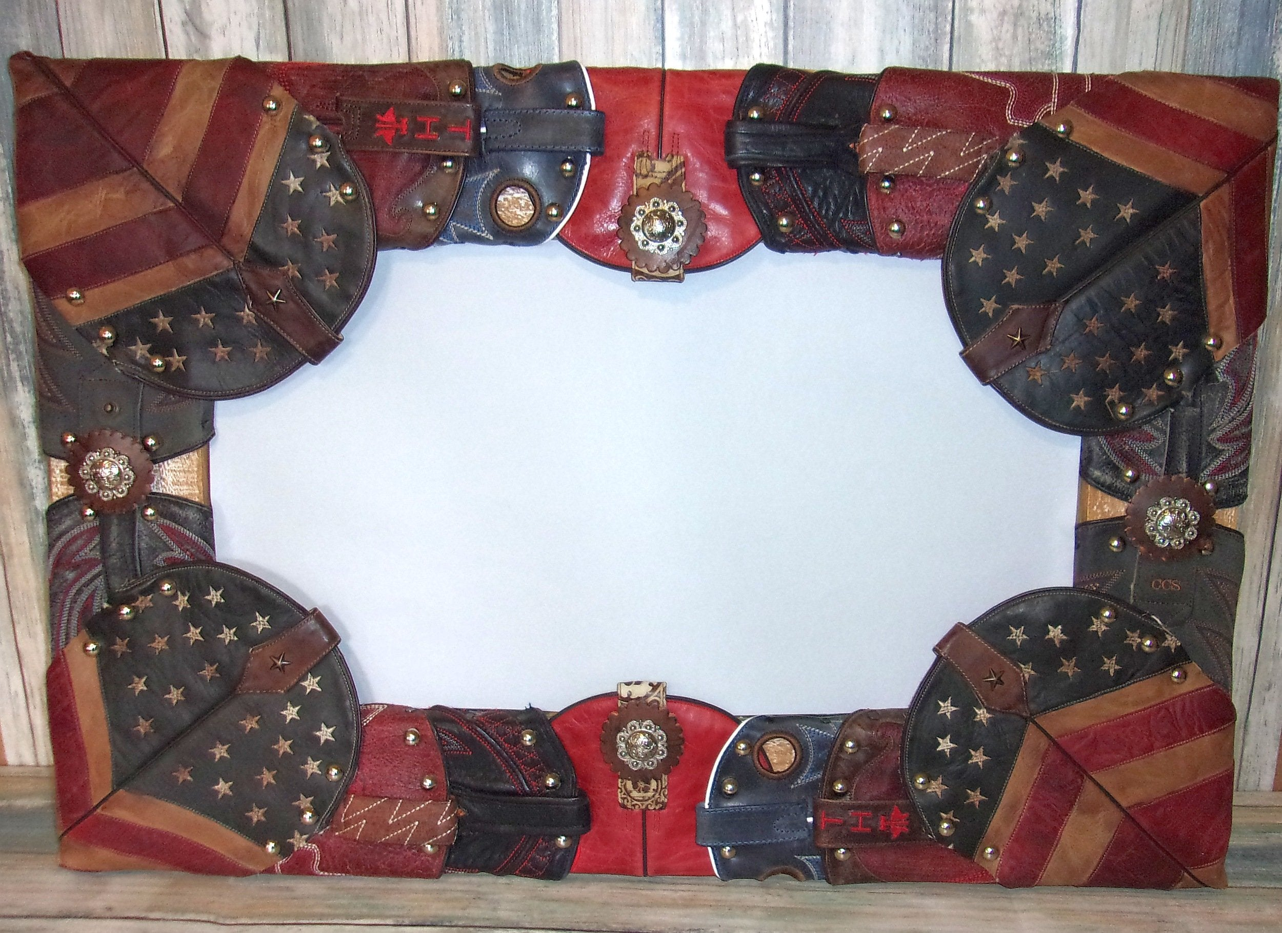 "18.5""x 28"" Wall Mirror Wrapped in Boots MR02 - Distinctive Western Handbags, Purses and Totes"