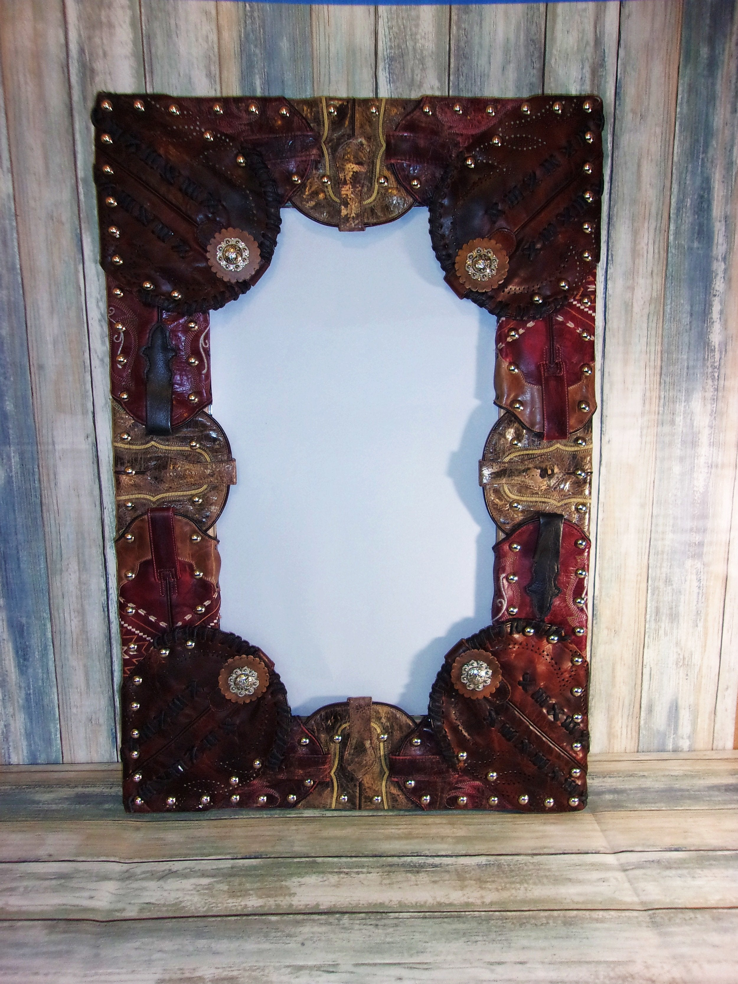 "18.5""x 28"" Wall Mirror Wrapped in Boots MR03 - Distinctive Western Handbags, Purses and Totes"