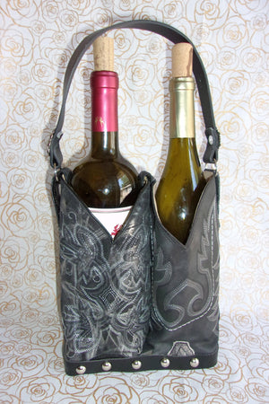 PP30 Double Cowboy Boot Leather Wine Tote - Cowboy Boot Purses by Chris Thompson for Distinctive Western Fashion