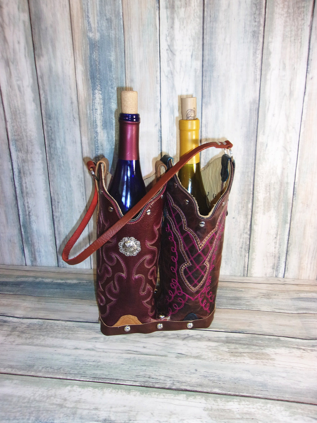 Double Wine Tote Bag - Leather Wine Carrier - Wine Lovers Gift – Wine Bag PP40 cowboy boot purses, western fringe purse, handmade leather purses, boot purse, handmade western purse, custom leather handbags Chris Thompson Bags