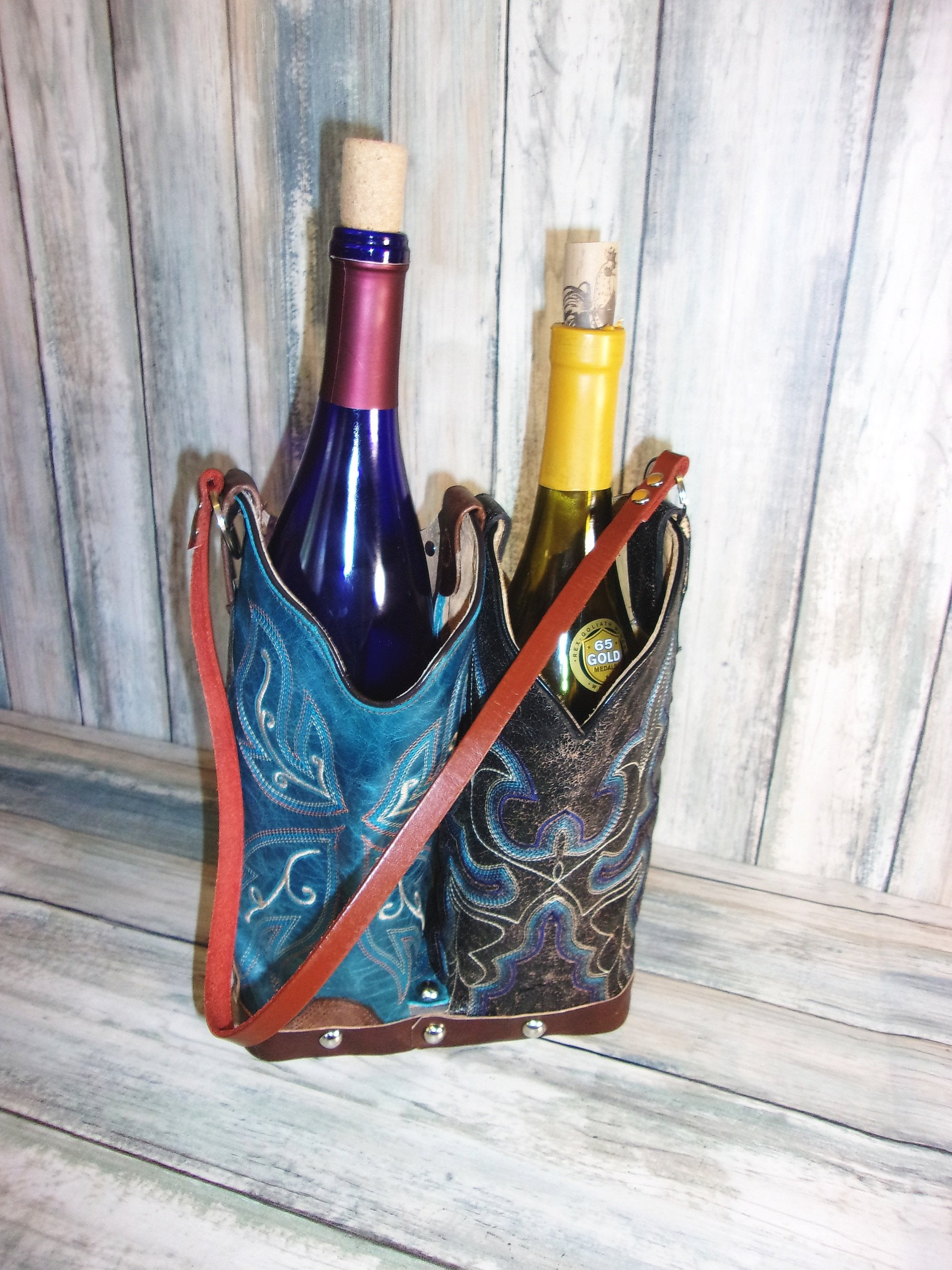 Double Cowboy Boot Leather Wine Tote PP41 - Distinctive Western Handbags, Purses and Totes