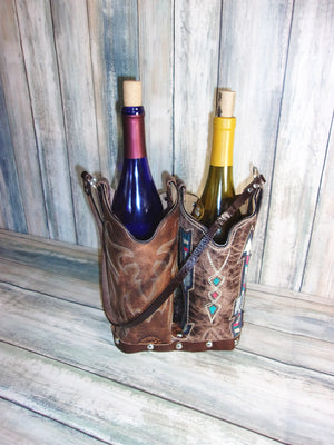 Double Cowboy Boot Leather Wine Tote PP44 - Distinctive Western Handbags, Purses and Totes