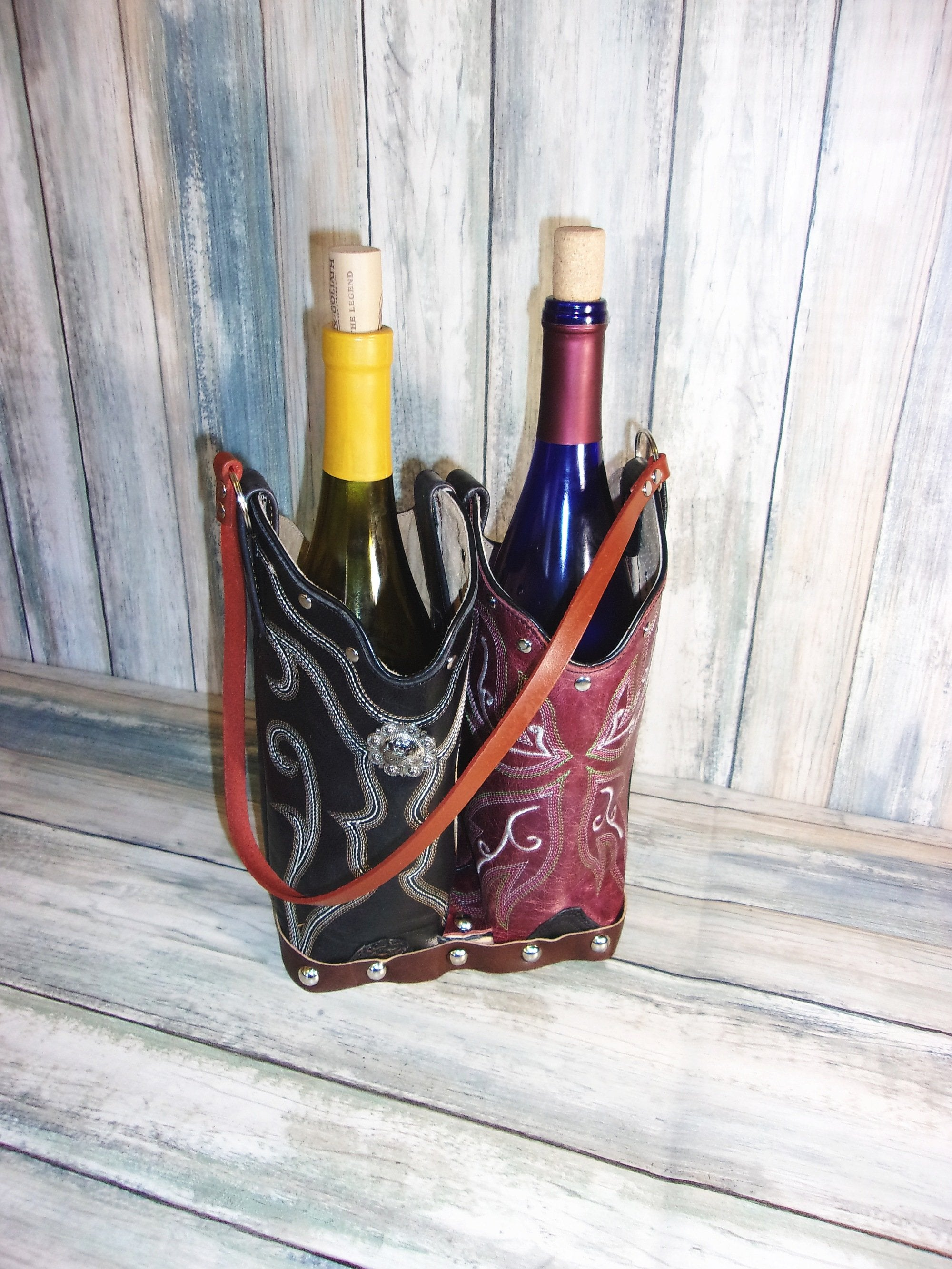 Double Cowboy Boot Leather Wine Tote PP47 - Distinctive Western Handbags, Purses and Totes