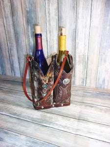 Double Cowboy Boot Leather Wine Tote PP48 - Distinctive Western Handbags, Purses and Totes