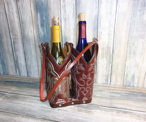 Double Cowboy Boot Leather Wine Tote PP50 - Distinctive Western Handbags, Purses and Totes