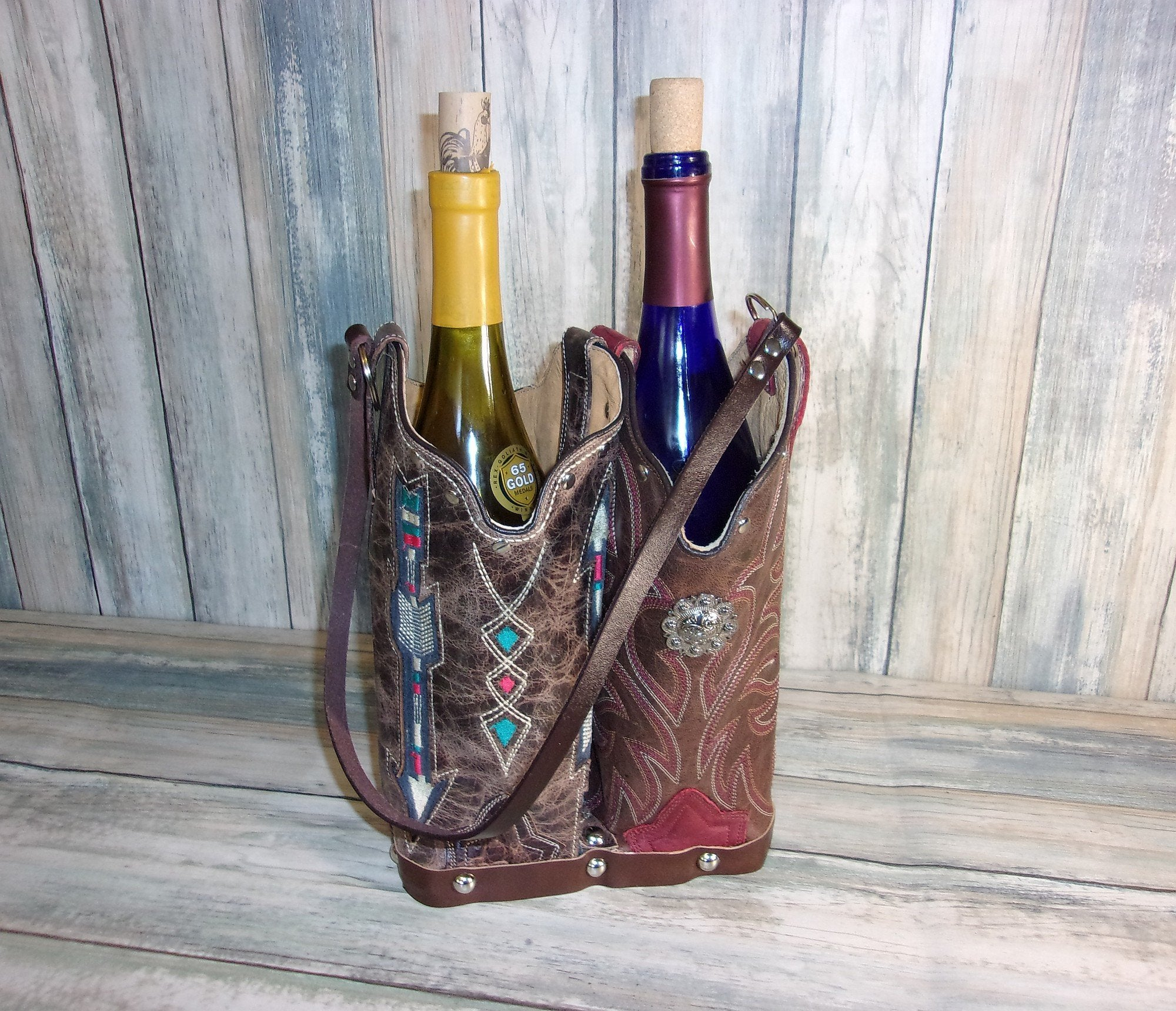 Double Cowboy Boot Leather Wine Tote PP51 - Distinctive Western Handbags, Purses and Totes