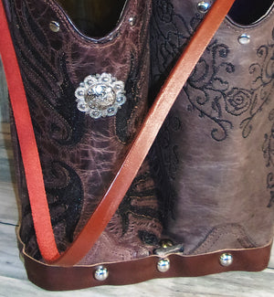 Double Cowboy Boot Leather Wine Tote PP52 - Distinctive Western Handbags, Purses and Totes