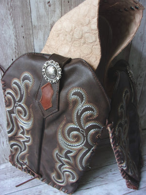 Doggy Saddle Bag - Leather Dog Saddle Bag - Dog Pack pup01 cowboy boot purses, western fringe purse, handmade leather purses, boot purse, handmade western purse, custom leather handbags Chris Thompson Bags
