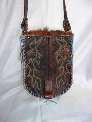 Hair-on-Hide Hand-Painted Flap Top Bag SB02 - Cowboy Boot Purses by Chris Thompson for Distinctive Western Fashion