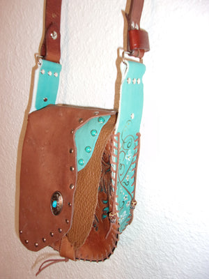 Hair-on-Hide Hand-Painted Flap Top Bag SB06 - Cowboy Boot Purses by Chris Thompson for Distinctive Western Fashion